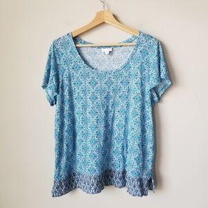 J Jill 100% Linen Blue Short Sleeve Floral Blouse